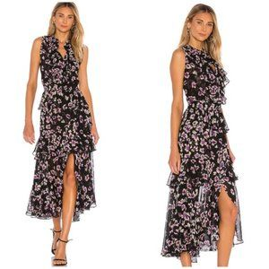 MISA Los Angeles Ilona Black Floral Midi Dress